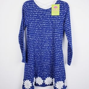Three Friends - Blue and White Print Dress…